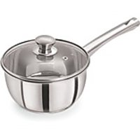 Pristine Induction Compatible Stainless Steel Sandwich Base Dlx Sauce Pan with Glass Lid, 14 cm , 1 PC,