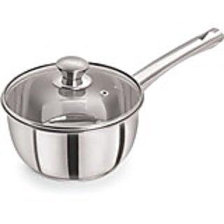 PRISTINE Induction Compatible Sandwich Base Dlx Sauce Pan with Glass lid 14 cm
