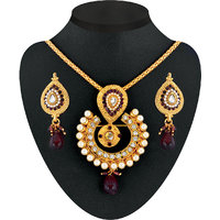 Kriaa Gold Plated Multicolor Alloy Necklace Set For Women