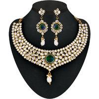 Kriaa Gold Plated Kundan Set in White -  2200607