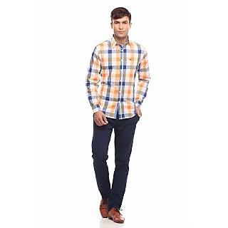 Jogur Orange Check Full Sleeve Casual Shirt (JCS-429-ORANGE-WHT-CHK)