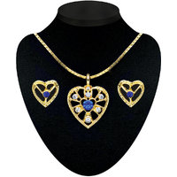 Kriaa Gold Plated Pendant Set in Blue  -  2200707