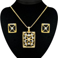 Kriaa Gold Plated Pendant Set in White  -  2200710