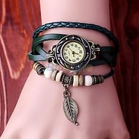Green Leather Strap Watch Hand-knted Leather Watch Women' Watches