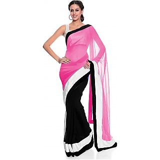 Mansvi Fasahion Pink  Black Solid Saree Without Blouse