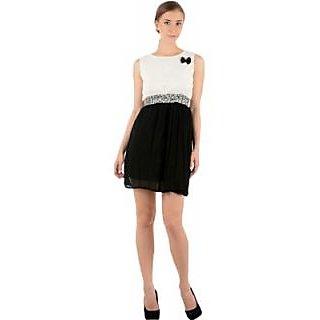 Raabta Black And White Short Dress