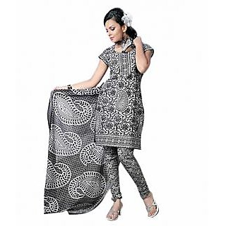 Jethpur Grey-White Cotton Printed Unstitched Suit With Dupatta
