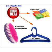 Goldcave Combo Of 12 Hangers,12 Clips With 1 Cloth Cleaning Brush