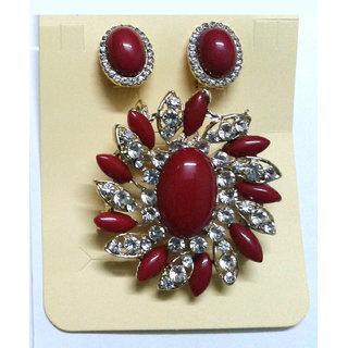 Maroon Pendant cum Brooch Set with Earrings - 668