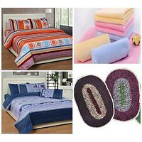 K Decor combo (2 polyester double bed sheets set+3 Cotton face towels+2 Polyester door mats)