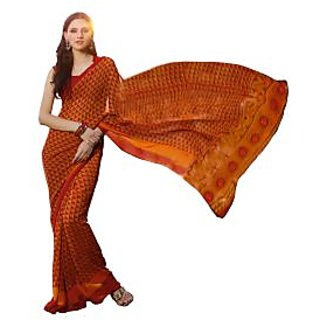Fabdeal Orange  Red  Colored  Georgette Printed Saree