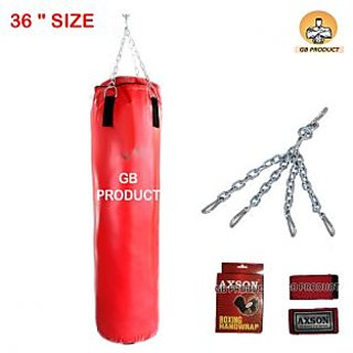 FULL SIZE PU PUNCHING BAG 36 ( Filled Bag ) WITH CHAIN + WRAP
