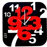 Zeeshaan Black & Red Square Wall Clock