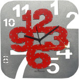 Zeeshaan Grey & Red Square Wall Clock