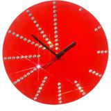 Zeeshaan Round Diamante Red Wall Clock