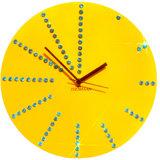 Zeeshaan Round Diamante Yellow Wall Clock