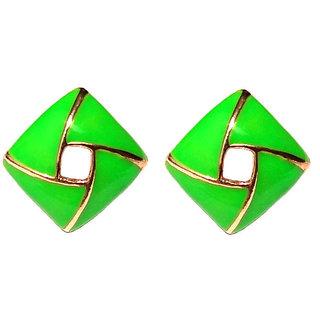 Fancy Clip On Green Earrings - 695
