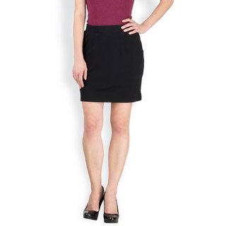 Hypernation Black Color Casual Skirts for Women