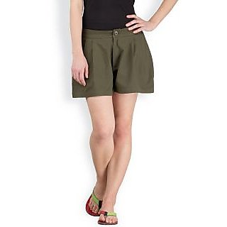 Hypernation Military Green Color Casual Skirts for Women