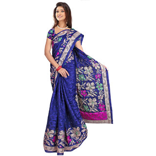 Blue  Pink Jacquard Printed Saree With Blouse