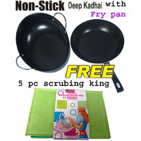 Non Stick Kadhai With Fry Pan And Free Scrubing King Cleaner
