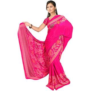 DesiButik's  Pink Wrinkle Crepe Saree  with Blouse VSM515