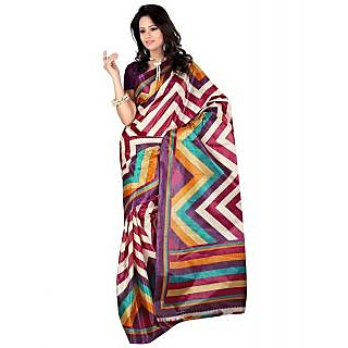 SuratTex Purple Art Silk Printed Saree Without Blouse