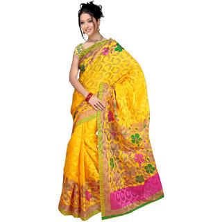 DesiButiks Lovely Yellow Patola Jacquard  Saree  with Blouse VSM409