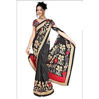 DesiButik's Beautiful Black Crepe  Saree  with Blouse VSM 504
