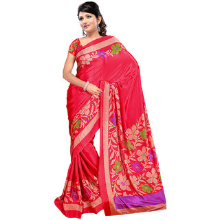 DesiButik's Elegant Red Crepe  Saree  with Blouse VSM 507