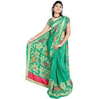 DesiButik's Lovely Green Crepe  Saree  with Blouse VSM509