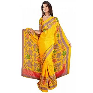 DesiButik's Lovely Yellow Crepe  Saree  with Blouse VSM510