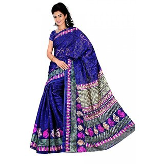 DesiButik's Beautiful Navy blue Patola Jacquard  Saree  with Blouse VSM 703