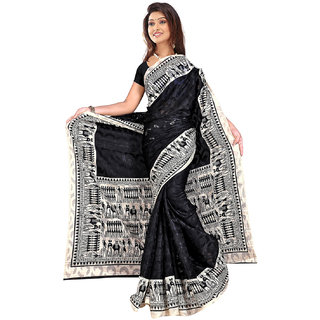 DesiButik's Graceful Black Patola Jacquard  Saree  with Blouse VSM 603