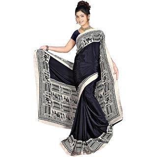 DesiButik's Elegant Black Crepe  Saree  with Blouse VSM 801