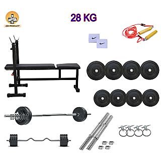 GB PRODUCT 28 KG HOME GYM PACKAGE WITH 3 IN 1 BENCH + 4 ROD + BAND + ROPE + LOCK