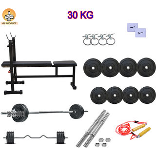 GB PRODUCT 30 KG HOME GYM PACKAGE WITH 3 IN 1 BENCH + 4 ROD + BAND + ROPE + LOCK