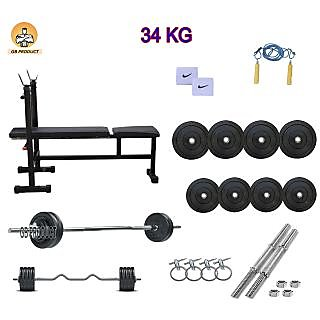 GB PRODUCT 34 KG HOME GYM PACKAGE WITH 3 IN 1 BENCH + 4 ROD + BAND + ROPE + LOCK