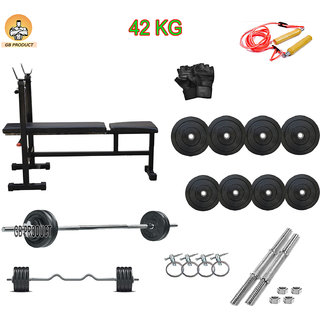 GB PRODUCT 42 KG HOME GYM PACKAGE WITH 3 IN 1 BENCH + 4 ROD + GLOVE + ROPE +LOCK