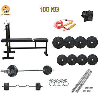 GB PRODUCT 100 KG HOME GYM PACKAGE WITH 3 IN 1 BENCH + 4 ROD + GLOVE +ROPE+ LOCK