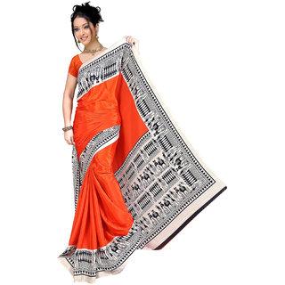 DesiButik's Lovely Orange Crepe  Saree  with Blouse VSM803