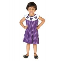 Lil Orchids Polka Dots Printed Girls Casual Dress LO-008-PURPLE