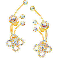 Sikka Jewels Elegant Gold Plated Australian Diamond Earcuff