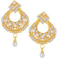 Sikka Jewels Cluster Gold Plated Australian Diamond Earring