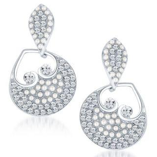 Sikka Jewels Glorious Rhodium Plated Australian Diamond Earring