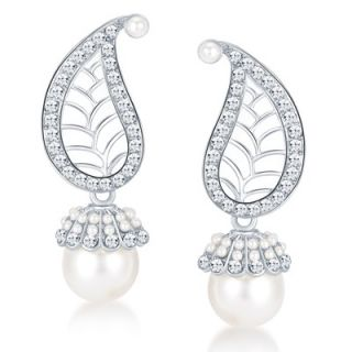 Sikka Jewels Marquise Rhodium Plated Australian Diamond Earring