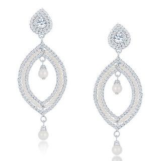 Sikka Jewels Bewitching Rhodium Plated Australian Diamond Earring
