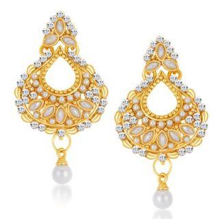 Sikka Jewels Eye-Catchy Gold Plated Australian Diamond Earring