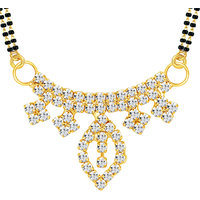 Sikka Jewels Moddish Gold Plated Australian Diamond Mangalsutra Pendant
