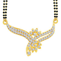 Sikka GoldenSilver Alloy Gold Plated Mangalsutra With Earrings For Women